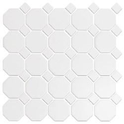 CC White Matte 2X2 Octagonal Mosaics on 12X12 Sheet, UFCC100-12M