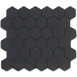CC Black Matte 2X2 Hexagon Mosaics on 12X12 Sheet, UFCC103-12M
