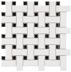 "CC White & Black Matte Basketweave Mosaic on 12X12"" Sheet"