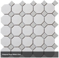 CC White/Grey 2X2 Octagonal Mosaics on 12X12 Sheet, UFCC112-12M