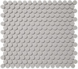 CC Grey Matte Penny Round Mosaics on 12X12 Sheet, UFCC116-12M