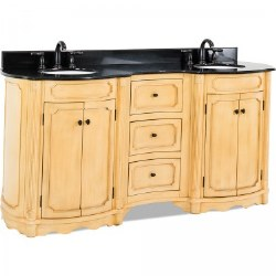 """Tesla 74-1/4"""" Double Vanity in Buttercream finish with Black Marble Top and Sinks"""