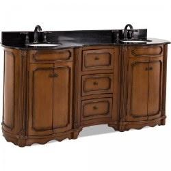 """Tesla 74-1/4"""" Double Vanity in Walnut finish with Black Marble Top and Sinks"""