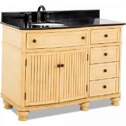 "Compton 48"" Vanity in Buttercream finish with Black Marble Top and Sink"