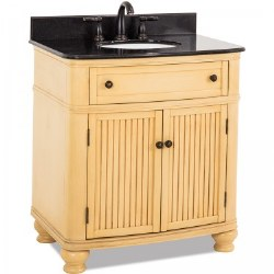 "Compton 32"" Vanity in Buttercream finish with Black Marble Top and Sink"