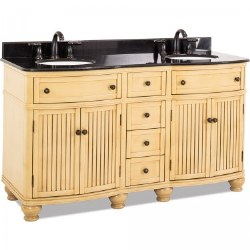 """Compton 60"""" Double Vanity in Buttercream with Black Marble Top and Sinks"""