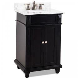 Douglas Black Vanity, 24X22, with Carrara Top