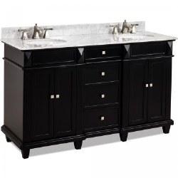 Douglas Black Double Vanity, 60X22, with Carrara Top