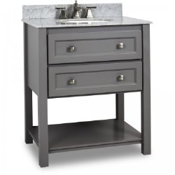 "Adler 31-1/2"" Vanity in Grey finish with Carrara Marble Top and Sink"