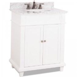 Douglas White Vanity, 30X22, with Carrara Top