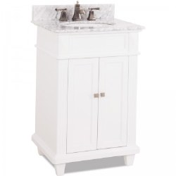 Douglas White Vanity, 24X22, with Carrara Top