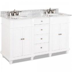Douglas White Double Vanity, 60X22, with Carrara Top
