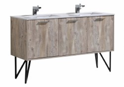 """Canyon 60"""" Double Vanity Set with LED Mirror & Faucet"""