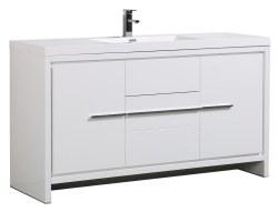 """Granada Novo 60"""" Single Sink Vanity Set in White"""