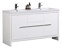 """Granada Novo 60"""" Double Sink Vanity Set in White"""