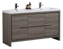 "Granada Novo 60"" Double Sink Vanity Set in Maple Grey"