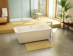 Aria Vivace Freestanding Tub White 66X31.5 With Brushed Nickel Drain & Overflow