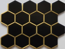 Brass and Black Hex Mosaic on 12X12 Sheet