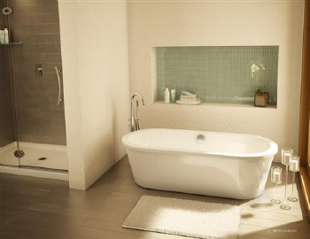 Aria Tranquility White Freestanding Tub 60X32, with Brushed Nickel Drain & Overflow