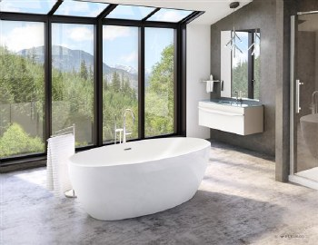 Aria Voce White Freestanding Tub 67X32, with Brushed Nickel Drain & Overflow