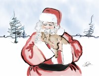 Santa with a Cat Card
