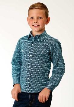 Boys Prarie Pattern Snap Blue MED