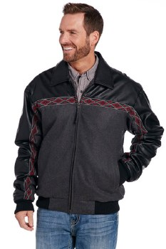 Wool Leather Trim Jkt Charcoal XLARGE RE