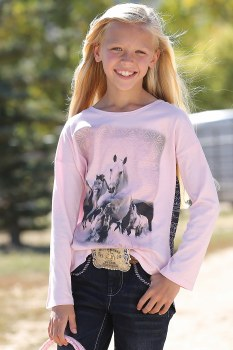 Girls Dolman Top Pink LG L/S