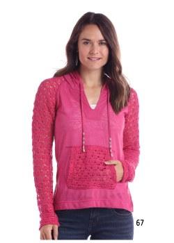 Lace Trim Hoodie Pink XL