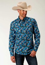 Blue Tropic Print Snap MED REG