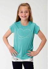Girls Heart w/Lace Trim Blue XL