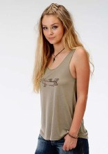 Arrow Foil Print Tank Tan MED S/L