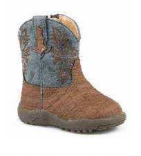 INFANT BROWN EMBOSSED CAIMAN BOOT 1