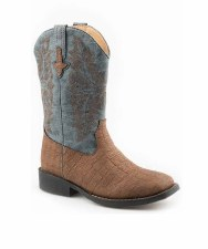 KIDS BROWN EMBOSSED CAIMAN BOOT 4