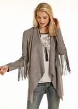Micro Suede Fringe Jacket Grey SML