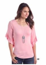 Flounce Sleeve Pink XL