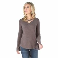 Criss Cross Neckline Sweater Mocha MED