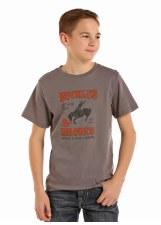 Boys R&R Broncs/Buckles Tee Grey XL