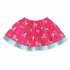 Infant Horse Print Skirt Raspberry 4T