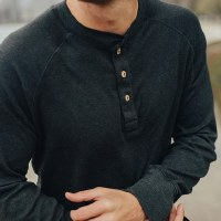 The Normal Brand Puremeso Henley Charcoal