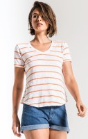 Z Supply Vienna V Neck Jaffa Orange and White