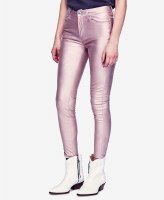 Free People Long and Lean Metallic Vegan Leather Pants