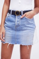 Free People Patched Denim Mini Skirt