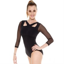 **SALE - WAS 60 NOW 30** Long Sleeved Mesh Leotard E-11141LE - Black