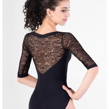 Light/Floral Lace Leotard E-10999LE - Black