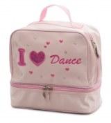 "Pink Satin Bag - Printed ""I love dance"""