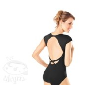**SALE - WAS 50 NOW 30** Cap Sleeved Leotard with Keyhole back RDE1540 - Black