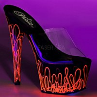 Black Platform With UV Neon Pink Swirls