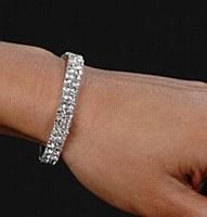 Two Rhinestone Row Stretch Bracelet