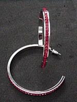 Red Rhinestone Hoop Earrings